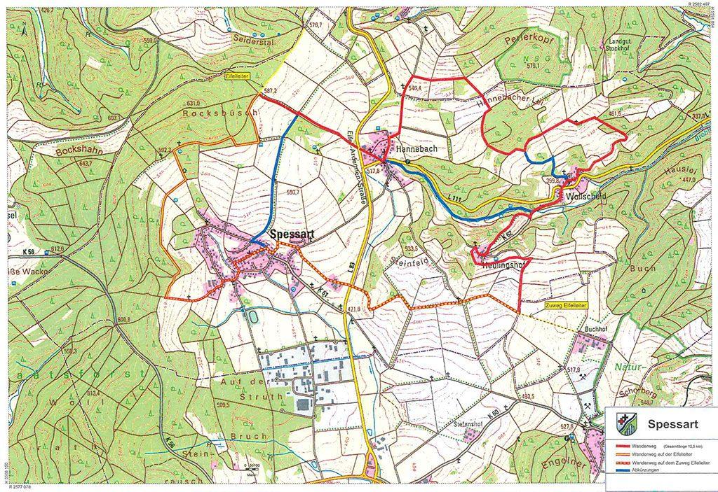 Karte 4 Dörfer Weg Spessart